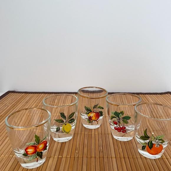 5 Vintage fruit printed shot glasses with gold rim